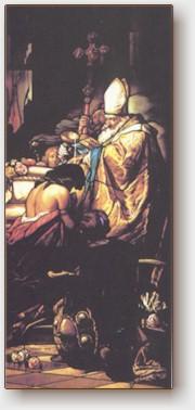 Vetrata colorata della cappella di Santo Stefano a Pannonhalma, opera di Miksa Róth del 1899, realizzate sulla base del quadro di Gyula Benczur intito