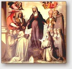 Giovanni Antonio Sogliani, Santa Brigida presenta la regola ai frati e alle monache del suo Ordine, Firenze, Galleria dell'Accademia (sec. XVI)