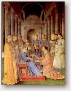 Beato Angelico, San Lorenzo consacrato diacono da san Sisto II, affresco nella Cappella Niccolina in Vaticano, 1447-50.