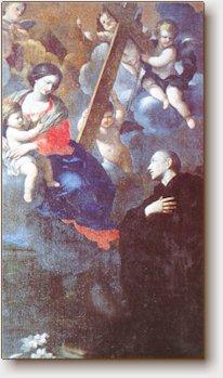 Giovan Francesco Romanelli, La Madonna appare al B. Ugo, Serra S. Quirico, Chiesa di S. Lucia, tela del sec. XVII.