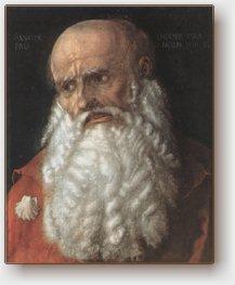 Albrecht Dürer, San Giacomo, tavola a olio, Firenze, Uffizi, monogrammata e datata 1516